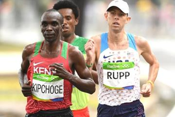 Eliud Kipchoge, Feyisa Lilesa and Galen Rupp in the marathon at the Rio 2016 Olympic Games (Getty Images)