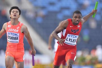 Noah Lyles anchors USA to gold in the 4x100m at the IAAF World U20 Championships Bydgoszcz 2016 (Getty Images)