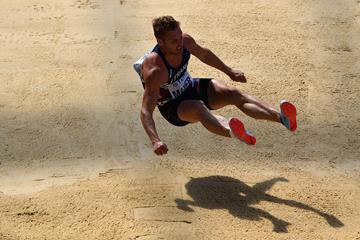 Kevin Mayer in the decathlon long jump at the IAAF World Championships London 2017 (Getty Images)