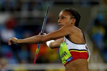 Nafissatou Thiam in the heptathlon javelin at the Rio 2016 Olympic Games (Getty Images)
