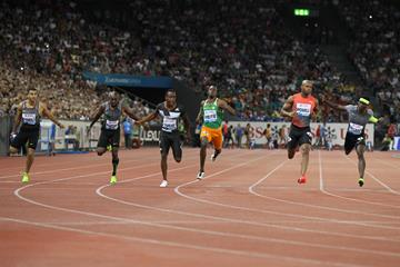 Asafa Powell wins the 100m at the IAAF Diamond League meeting in Zurich (Jean-Pierre Durand)
