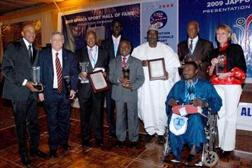 Frank Fredericks (extreme left) is joined by his fellow inductees at the Gala ceremony in Alexandria (JAPPO)