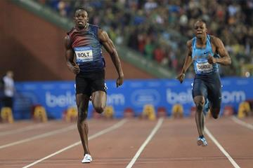 Usain Bolt on his way to 100m victory at the IAAF Diamond League meeting in Brussels (Jean-Pierre Durand)