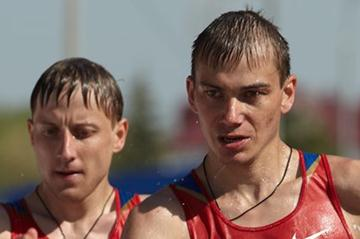 Sergey Bakulin and Igor Erokhin in action in the men's 50km race in Saransk (Getty Images)