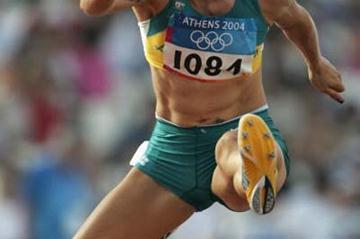 Jana Pittman of Australia in action in the heats of the 400m Hurdles (Getty Images)