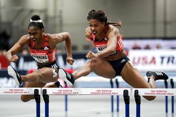 60m hurdles winner Sharika Nelvis at the IAAF World Indoor Tour meeting in Boston (PhotoRun)