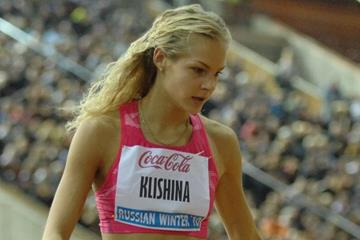 Darya Klishina after her world-leading 6.87m leap in Moscow, a Russian junior record (Nikolay Matveev)