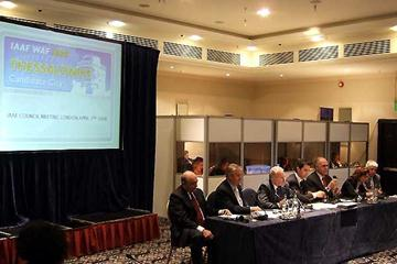 The bid team from Thessaloniki giving their presentation to the IAAF Council in London (Chris Turner for the IAAF)