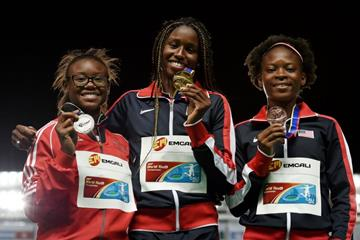Girls' 100m podium at the IAAF World Youth Championships, Cali 2015 (Getty Images)