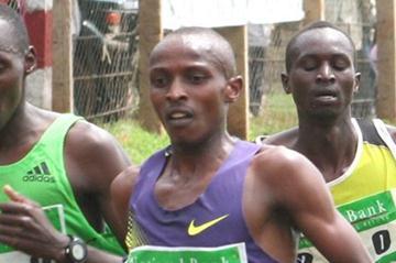 Sammy Mutahi (right) and Richard Mateelong (left) lead the men 5000m field during the 7th NBK/AK National Track and Field Series Meeting at Kinoru Stadium (Mutwiri Mutuota)