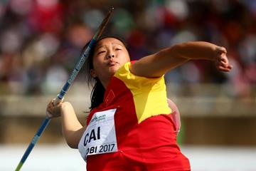 Cai Qing in the javelin at the IAAF World U18 Championships Nairobi 2017 (Getty Images)