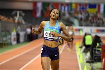 Beatrice Chepkoech crossing the line in a Kenyan record 4:04.21 in Düsseldorf (Gladys Chai von der Laage)