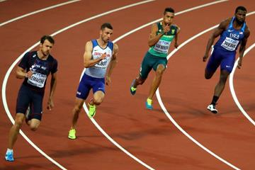 Christophe Lemaitre, Daniel Talbot, Wayde van Neikerk and Ameer Webb in the 200m semi-final at the IAAF World Championships London 2017 (Getty Images)