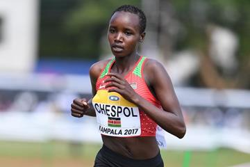 Celliphine Chespol of Kenya in the U20 women's race at the IAAF World Cross Country Championships Kampala 2017 (Jiro Mochizuki)