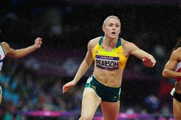 Sally Pearson of Australia leads Phylicia George of Canada and Nevin Yanit of Turkey during the Women's 100m Hurdles Final on Day 11 of the London 2012 Olympic Games on 7 August 2012 (Getty Images)