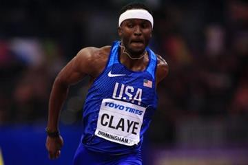 Will Claye in the triple jump at the IAAF World Indoor Championships 2018 (Getty Images)