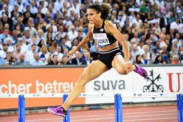Sydney McLaughlin wins the 400m hurdles at the IAAF Diamond League final in Zurich (Jiro Mochizuki)