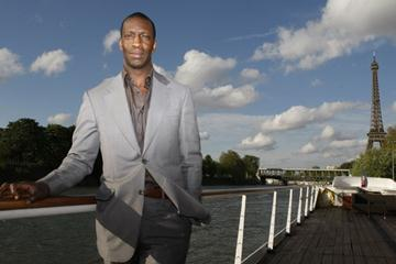 Michael Johnson promotes the Paris Golden League meeting (Courtesy of L'Equipe)