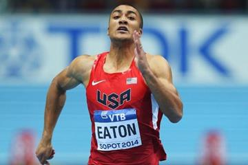 Ashton Eaton in the heptathlon 60m at the 2014 IAAF World Indoor Championships in Sopot (Getty Images)