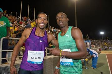 Christian Taylor and Pedro Pablo Pichardo after their epic triple jump competition at the 2015 IAAF Diamond League meeting in Doha (DECA Text & Bild)