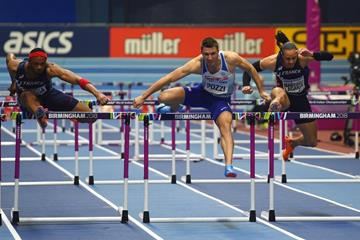 Andrew Pozzi on his way to winning the 60m hurdles at the IAAF World Indoor Championships Birmingham 2018 (Getty Images)