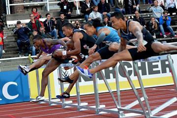 The men's 110m hurdles at the 2015 IAAF Diamond League meeting in Stockholm (Deca Text&Bild)
