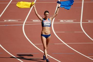 20km race walk bronze medallist Lyudmyla Olyanovska at the IAAF World Championships, Beijing 2015 (Getty Images)