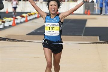 All smiles - Akemi Ozaki after her comfortable victory at the Athens Classic Marathon (Victah Sailer)