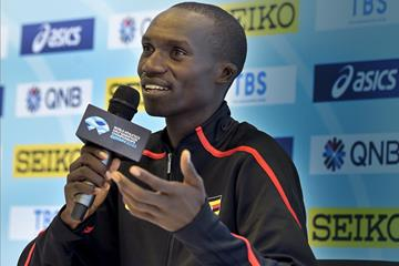 Joshua Cheptegei at the press conference for the World Athletics Half Marathon Championships Gdynia 2020 (Getty Images)