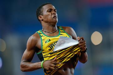 Jaheel Hyde after setting a 110m hurdles world youth best at the 2014 Youth Olympic Games (Getty Images)