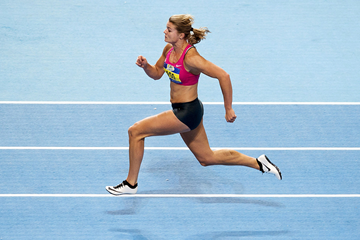 Dafne Schippers on her way to winning the 60m at the Dutch Indoor Championships (AFP / Getty Images)