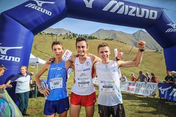 The podium in Susa: runner-up Francesco Puppi, winner Alex Baldaccini and Davide Magnini (Organisers)