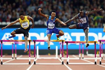 Jaheel Hyde, TJ Holmes and Mamadou Kasse Hann in the 400m semi finals at the IAAF World Championships London 2017 (Getty Images)