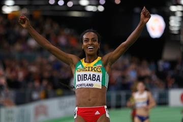 Genzebe Dibaba wins the 3000m at the IAAF World Indoor Championships Portland 2016 (Getty Images)