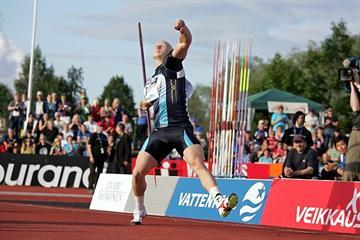 Teemu Wirkkala throwing 87.23m in Joensuu (Paula Noronen)
