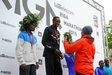 Haile Tolossa after winning the Riga Marathon (Organisers)