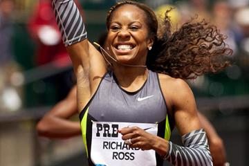 Sanya Richards-Ross wins the 400m at the Diamond League meeting in Eugene (Getty Images)