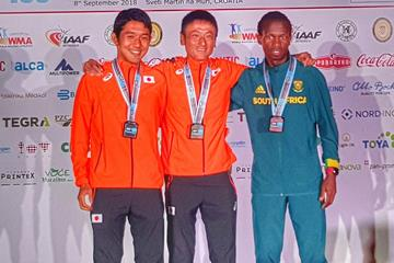 Japan's Hideaki Yamauchi (centre), winner of the IAU 100km World Championship (Organisers)