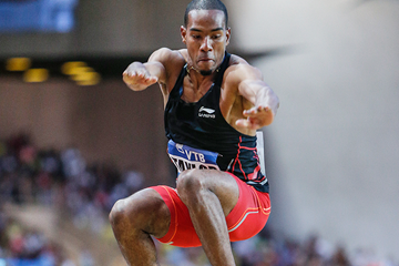Christian Taylor in the triple jump at the IAAF Diamond League meeting in Monaco (Philippe Fitte)
