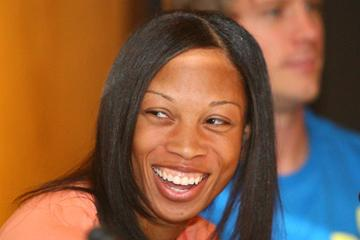 Allyson Felix at the pre-meet press conference in Thessaoloniki (Getty Images)