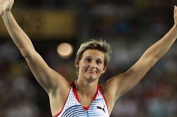Barbora Spotakova of Czech Republic celebrates second place in the women's javelin final (Getty Images)