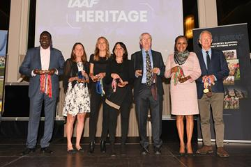 7 mutliple World Cross Country Champions on stage - 22 individual gold medals on show at the IAAF Dinner in Aarhus (Jiro Mochizuki for IAAF')
