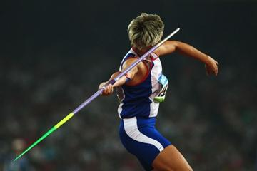 Barbora Spotakova on her way to her winning throw os 71.42m in the women's javelin final (Getty Images)