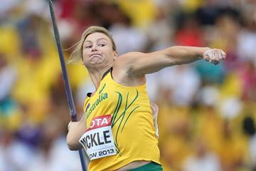 Kim Mickle in the women's javelin final at the IAAF World Championships, Moscow 2013 (Getty Images)