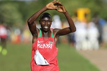 Geoffrey Kamworor winning a second successive men's senior title in Kampala (Roger Sedres)