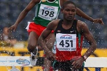 Jonathan Muia Ndiku of Kenya on his way to victory in the Final of the Men's 3000m Steeplechase (Getty Images)