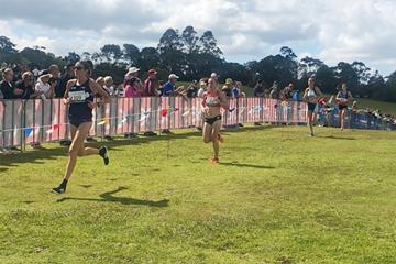 Australia's Madeline Hills leads the senior women's race at the Oceania Cross Country Championships (Athletics Australia)