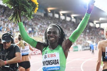 Francine Niyonsaba at the 2016 IAAF Diamond League meeting in Lausanne (Gladys von der Laage)
