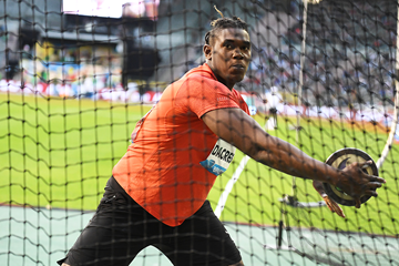 Discus winner Fedrick Dacres at the IAAF Diamond League final in Brussels (Gladys Chai von der Laage)