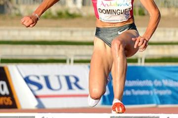 Marta Domínguez on her way to a national steeplechase record in Malaga (Juan José Úbeda)